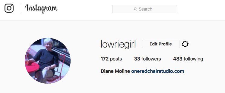 "You can see that I don't use Instagram a lot, and there's no ""K"" in my numbers! But I do post artwork and the occasional out and about photo there. Check it out:  @lowriegirl  ."