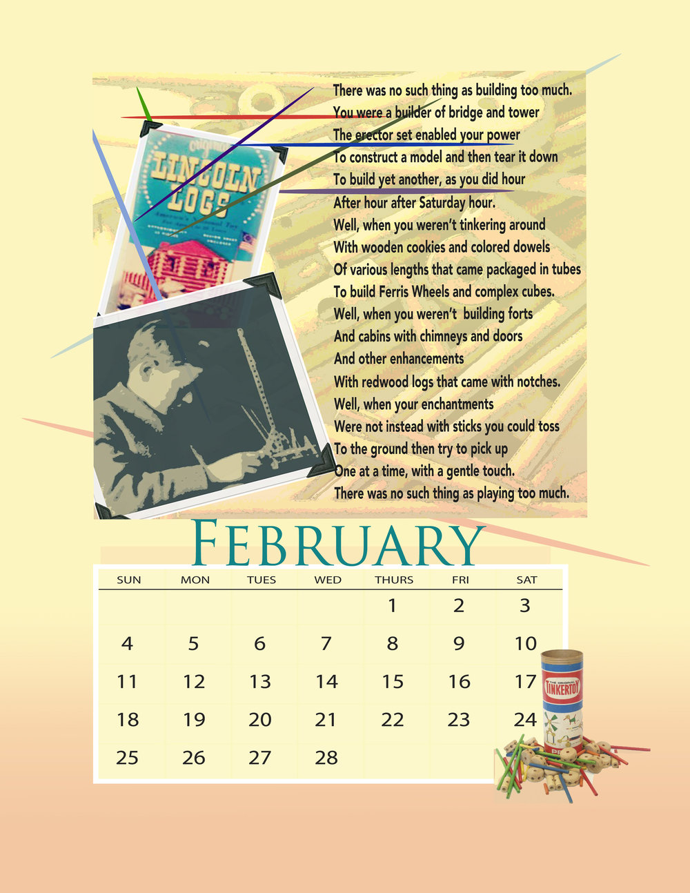 The February page from the Hula Hoops and  Howdy Doody calendars, There are still a handful available if you would like your own. At the Shop.