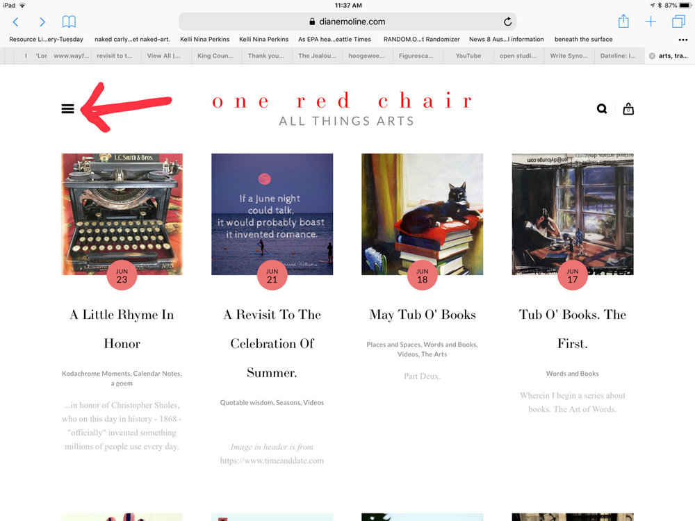 "Or click the 3-bar ""ladder"" at top left of blog..."