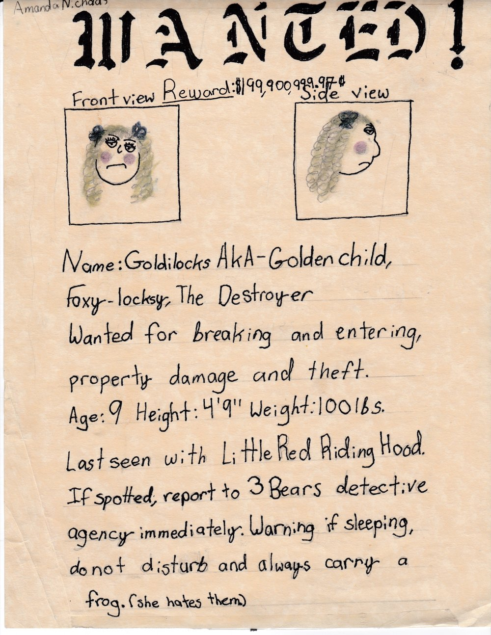 By Amanda Nichols, 4th grade, circa 2000.
