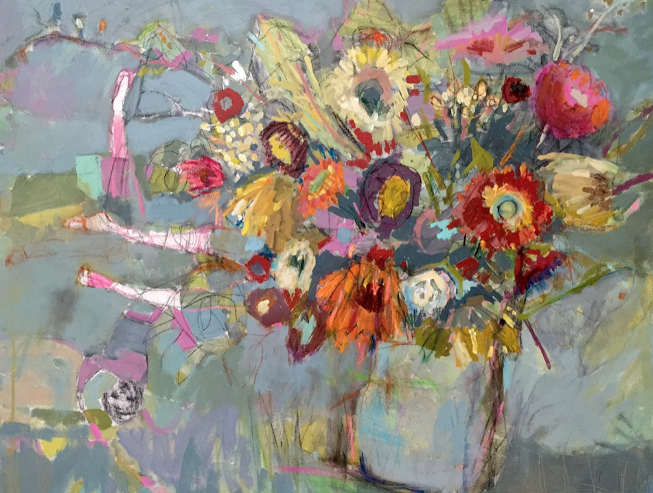 Lynn Whipple . A high-flying, exhuberant artist of abstracts, florals, words, faces, collage and general other ways to have fun.