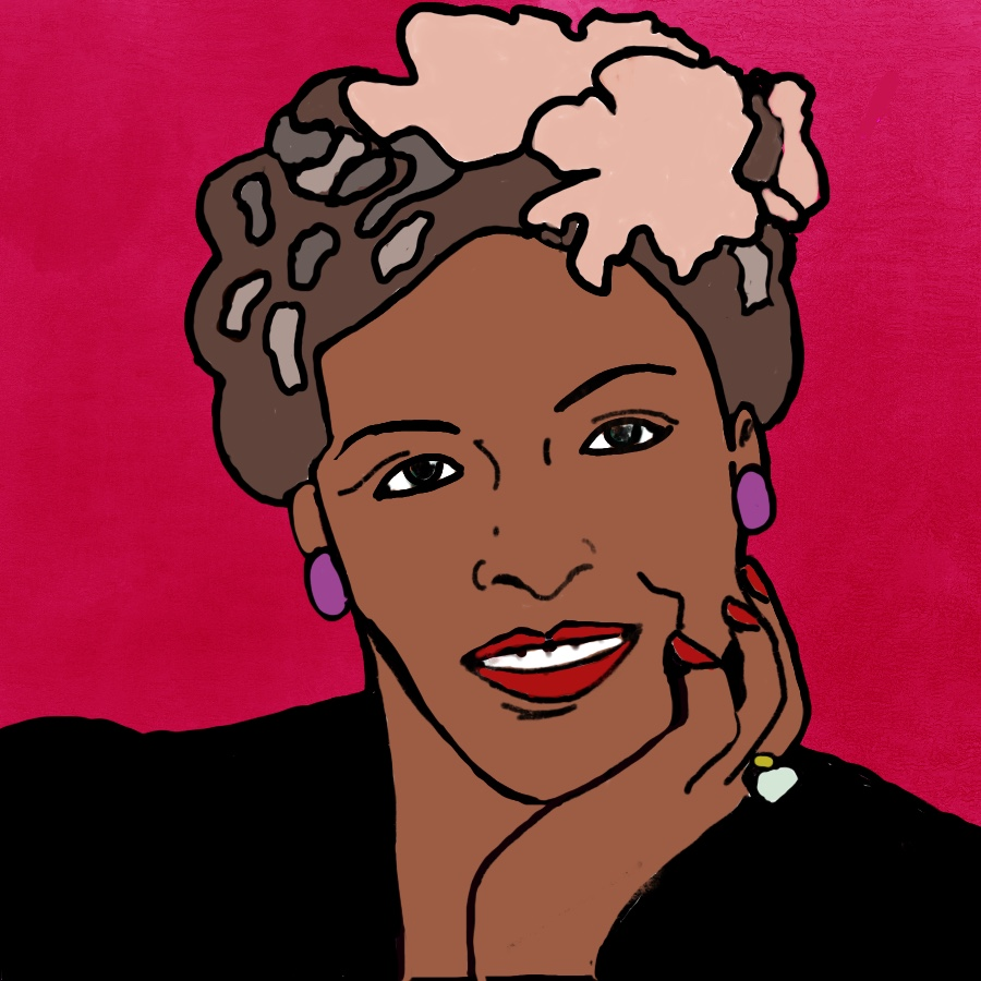 Billie Holiday, 1915-1959.                                                                Art by Diane Moline. Day 6 Challenge.