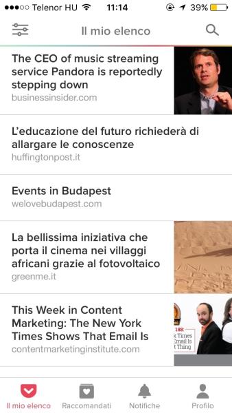 Screenshot Pocket