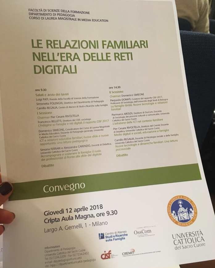 Le relazioni familiari nell'era delle reti digitali, Convegno Università Cattolica Milano