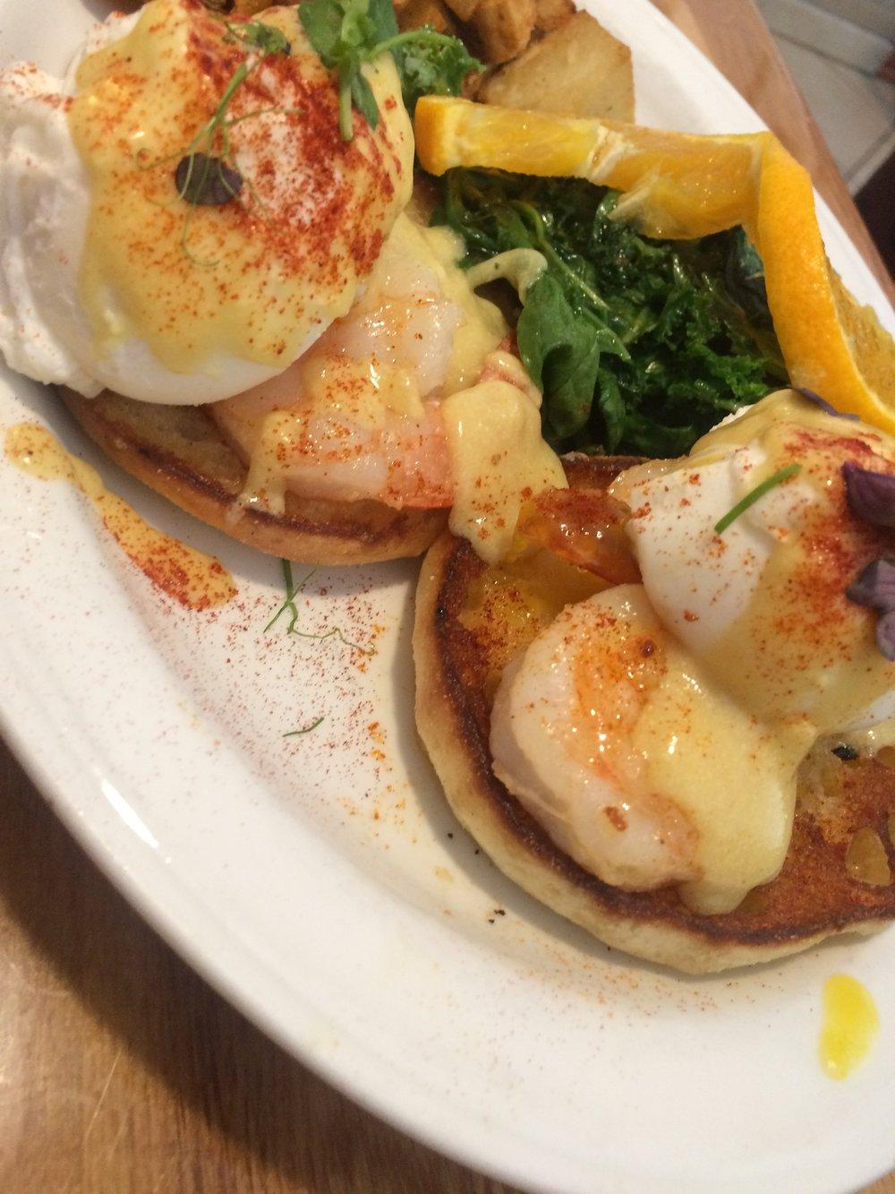 Garlic Shrimp Benedict