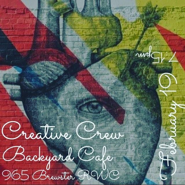 Next Sunday!!! 2/19 #creativecrewrwc #art #music #filmmaking #redwoodcity #bayareabuzz