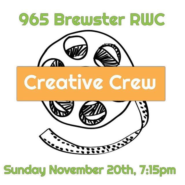 This Sunday night 11/20! #creativecrewrwc #redwoodcity #creativecrewrwc #art #film #writing #poetry #acting #creativity