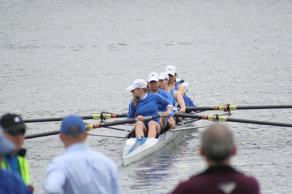 Rowing for my school's varsity team in 2012.