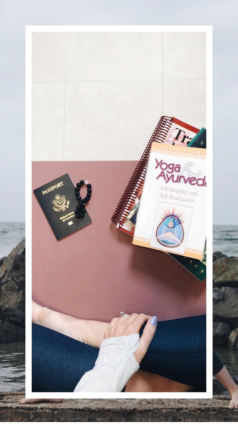 my readings, mala beads and passport!