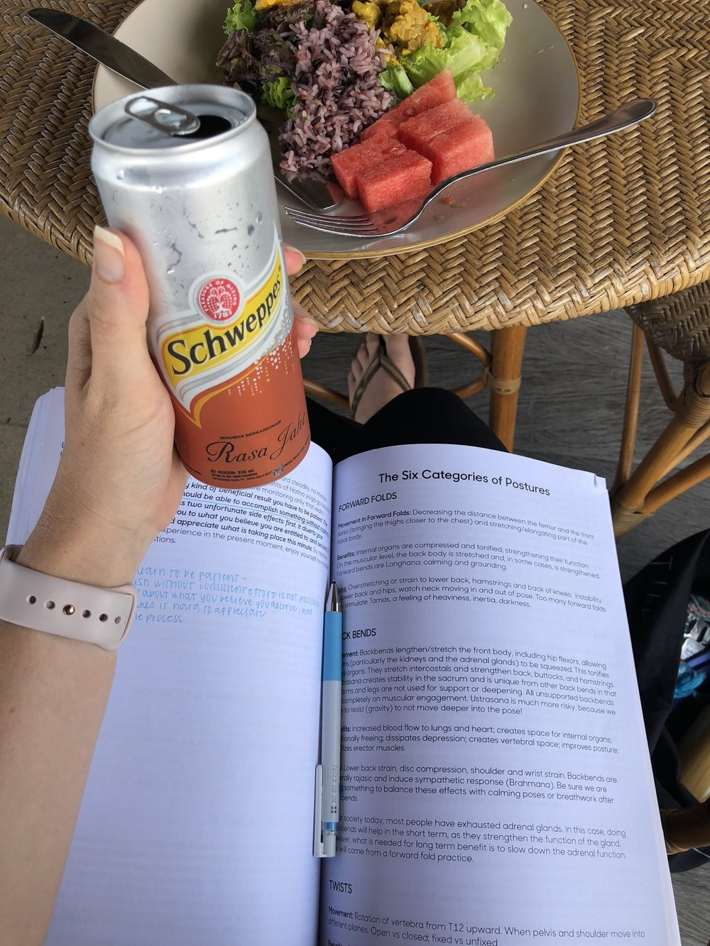 lunch studying + bali ginger ale for my stomach!