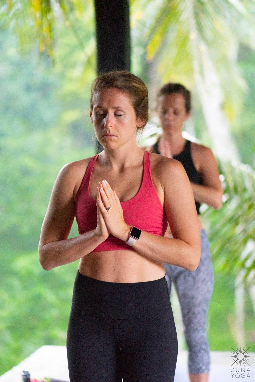 sleepy yogi with hands at hearts center :)