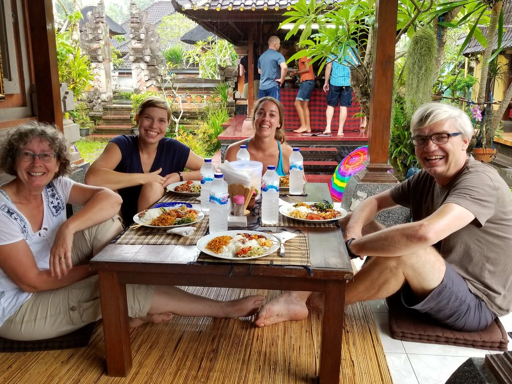 Eating Balinese food at Putu's aunty's house with the German family that adopted me for the day.