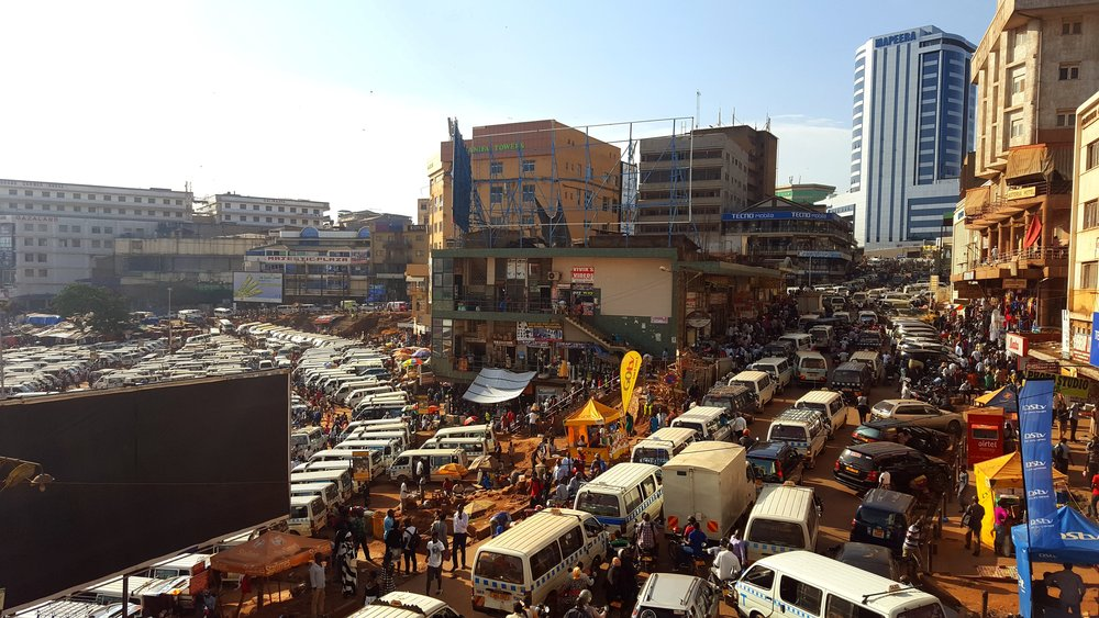 Looking down on a classic Kampala jam, watching the Bodas weave in and out of the traffic.