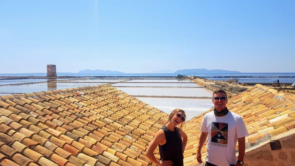 Erin and Jared exploring Marsala's famous salt fields.