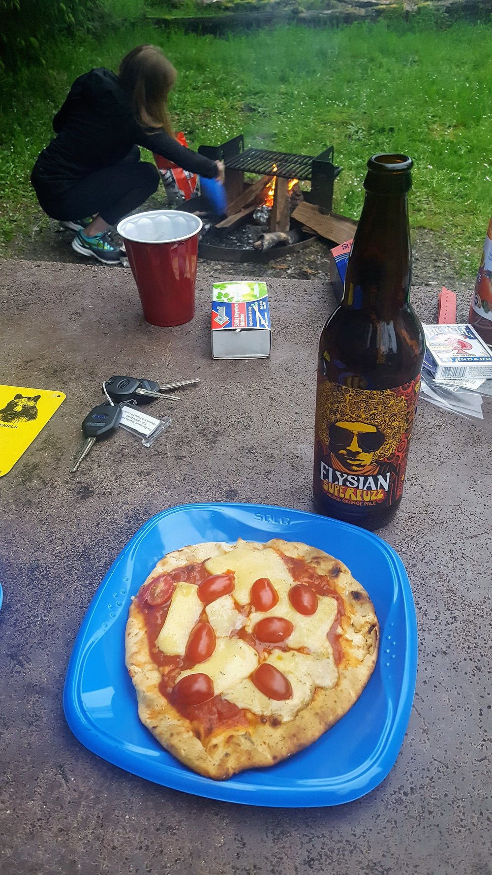 - Superfuzz Blood Orange Pale Ale     ElysianFirst taste: Hoh Campground, Olympic National Park. Pairs well with Naan Campfire Pizza.        *Favorite beer of 2017*