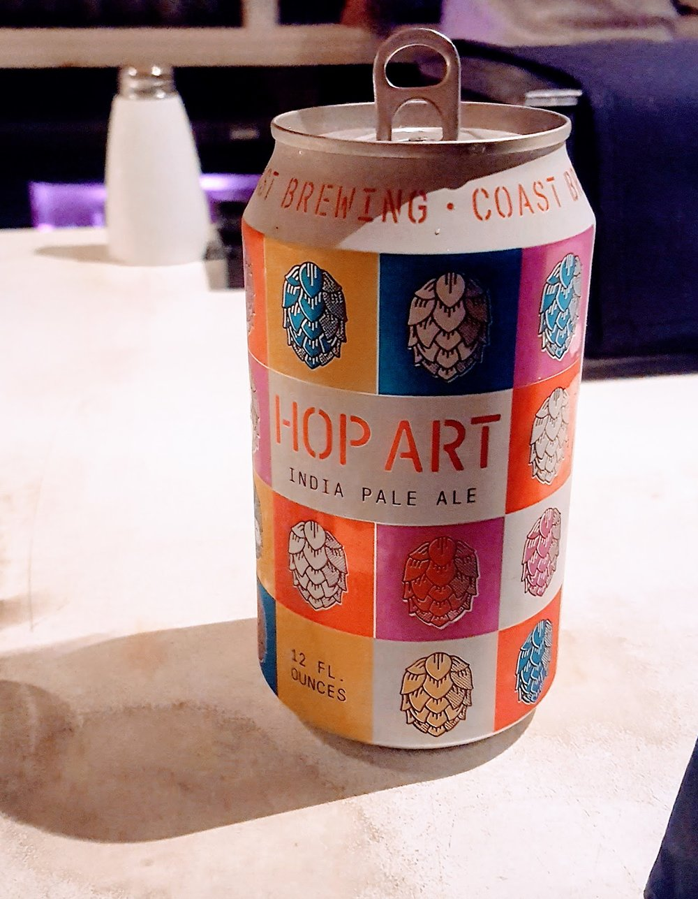 - Hop Art IPA          Coast Brewing Co.   The first beer I had after our move to Charleston. Solid IPA with funky art.*Memory award* *2nd funkiest can decor*