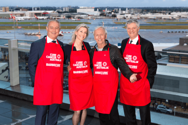 Pictured above (L-R) : Sydney Airport General Manager Retail Glyn Williams, Cure Cancer Australia CEO Floyd Larsen, Cure Cancer Ambassador Paul Hogan and Cure Cancer Chairman Philip Corne.