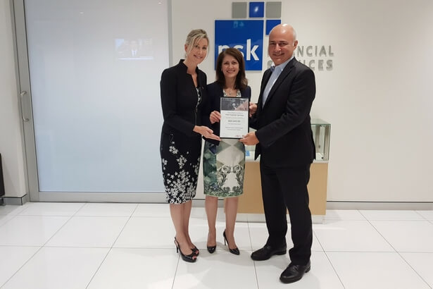 Pictured above (L-R) : Cure Cancer Australia CEO Floyd Larsen, Cure Cancer Australia Deputy Chairman Teresa Nicoletti, PSK Finanacial Services Managing Director Paul Aspros