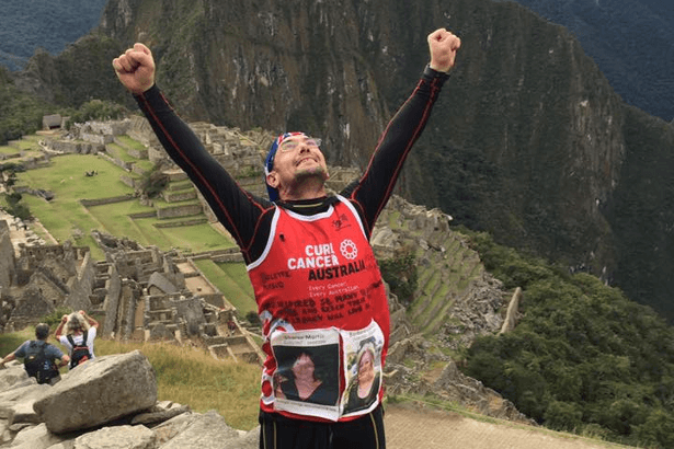 Carlo at the finish of the Inca Trail Marathon in 2016
