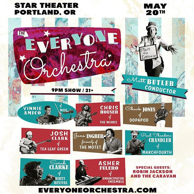 Imagine an all star superband made up of your favorite musicians from many awesome bands you know, all meeting together on the stage for the first time and being conducted by a guy using hand signals to write songs improvised on the spot! It's happening and my band is opening! #portlandmusic #everyoneorchestra #robinjacksonandthecaravan #improvisation