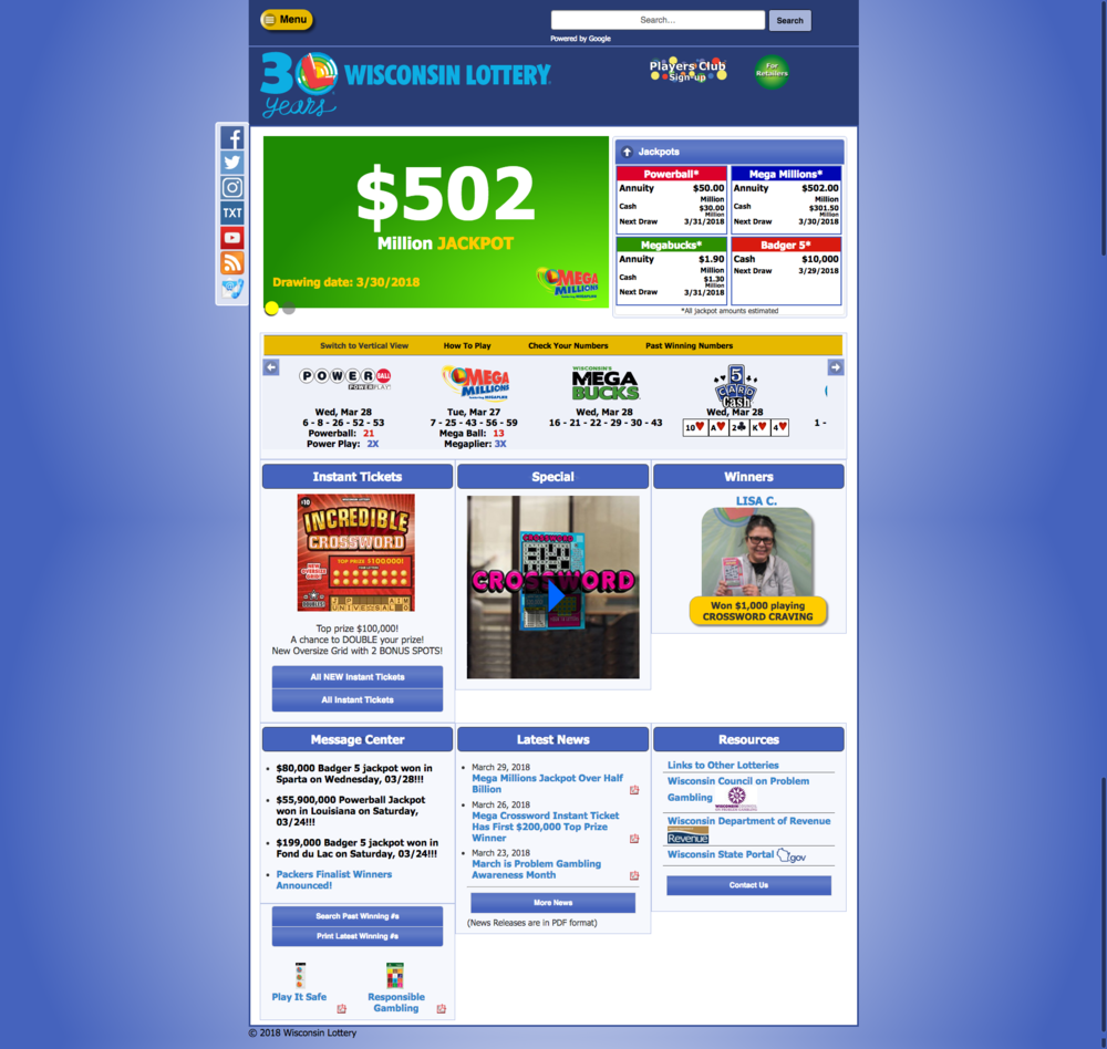 WI Lottery Homepage Old