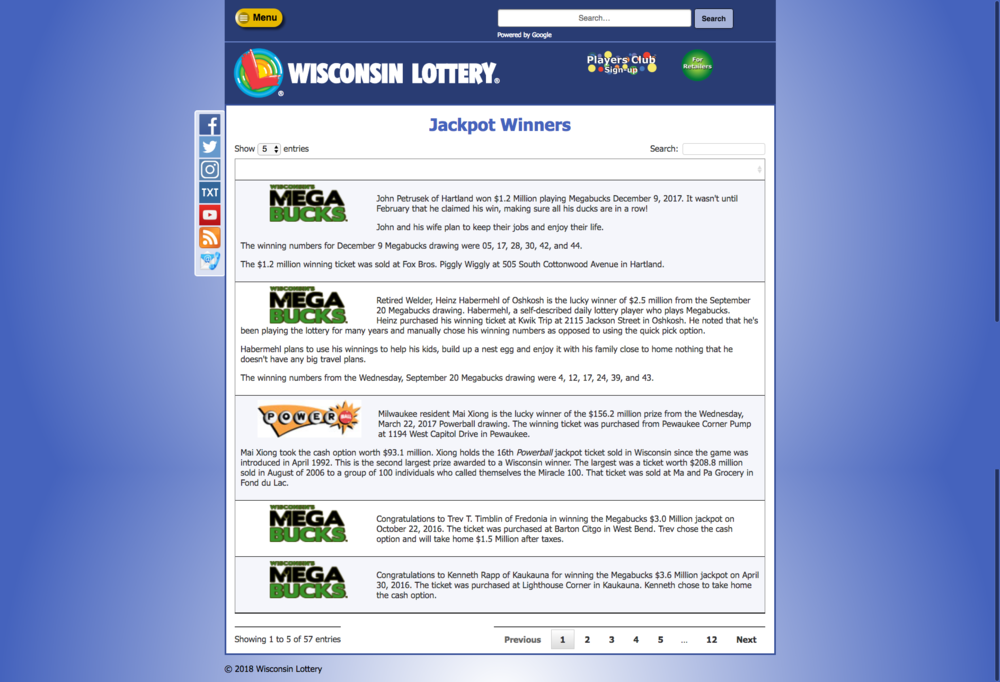 WI Lottery Jackpot winners