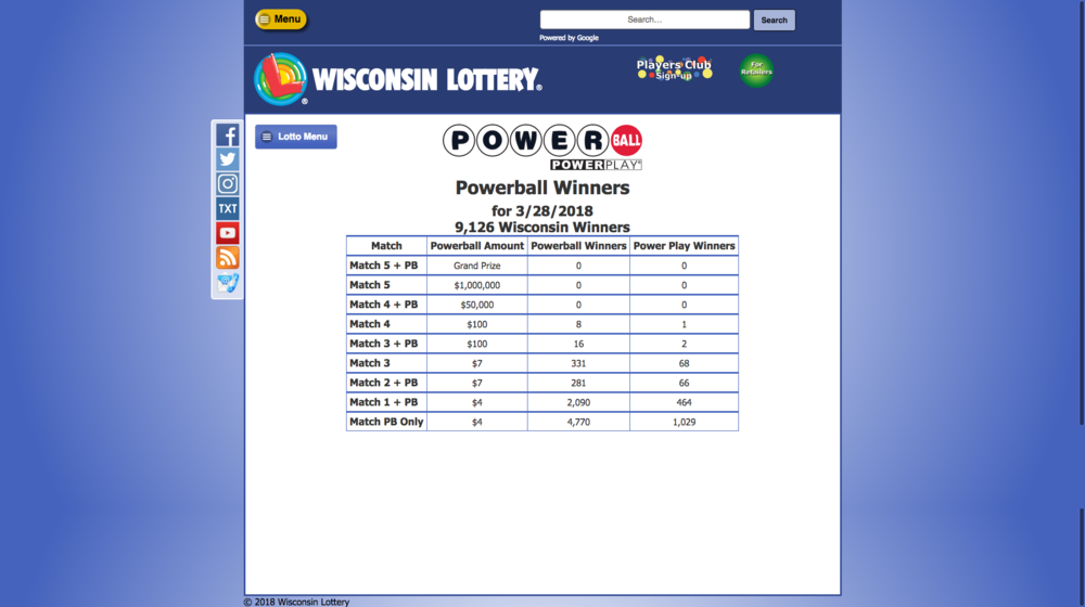 WI Lottery Past winning numbers