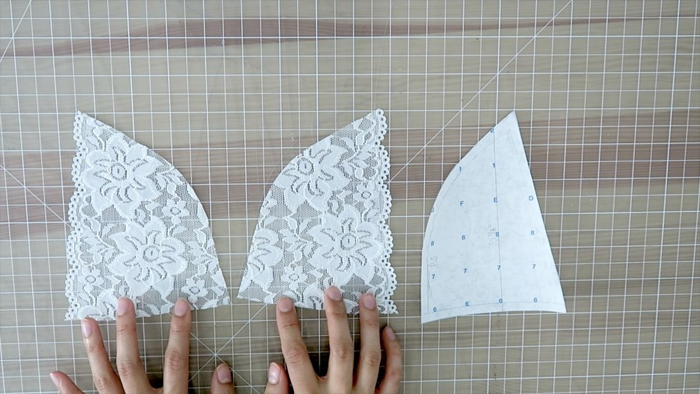 3) Cut two from pattern B, line up the grain line on the scallop edge of the lace for this pattern.