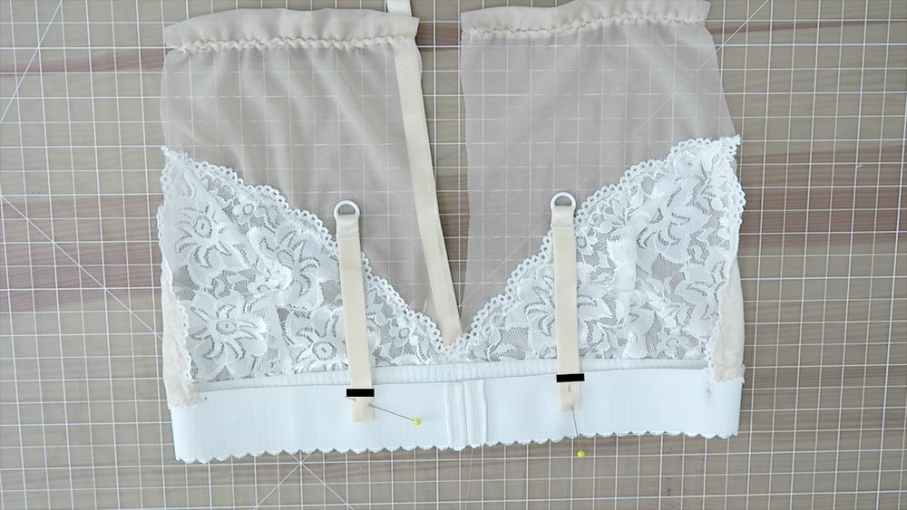 "15) Place the straps onto the back of the bra, about 2""-3"" away from center bak.  Sew to secure."