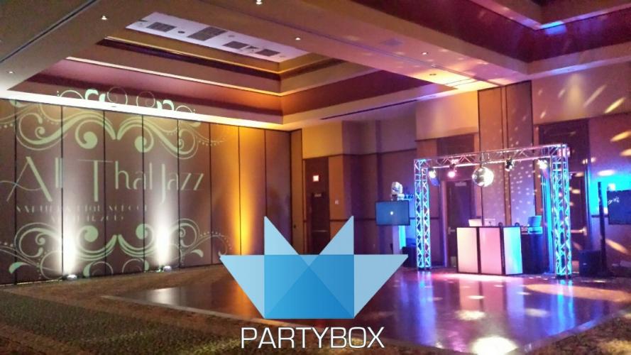 Renaissance Tulsa Ballroom - DJ Photo Booth Video Screens Mirror Ball Projection Pin Spots Centerpieces PartyBox TULSA DJ