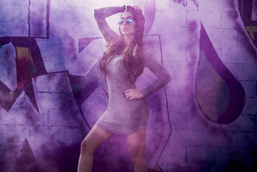 Purple Hearts against graffiti art.