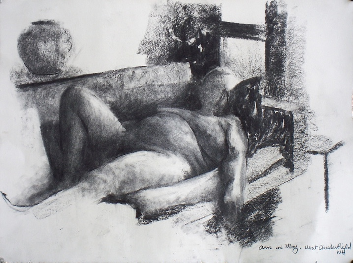 Ann in May, charcoal on paper, 2012