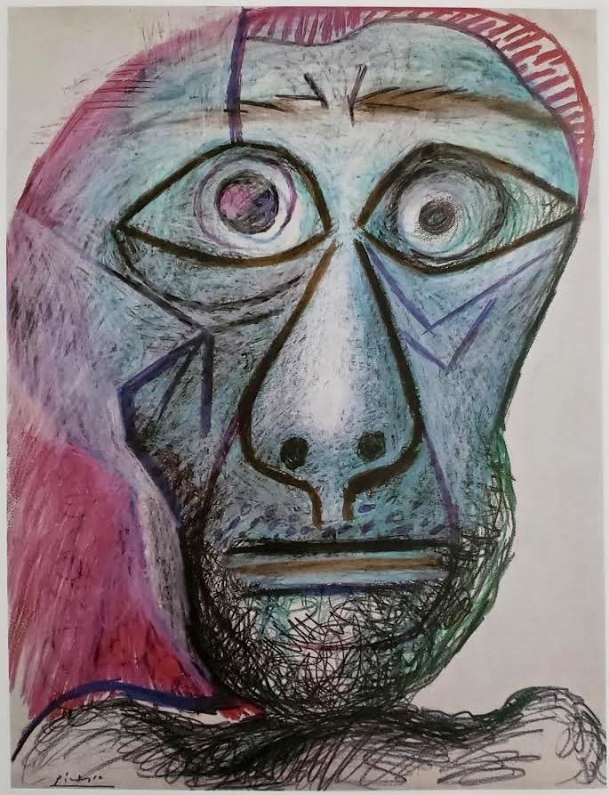 Self-Portrait, Facing Death, crayon, 1972