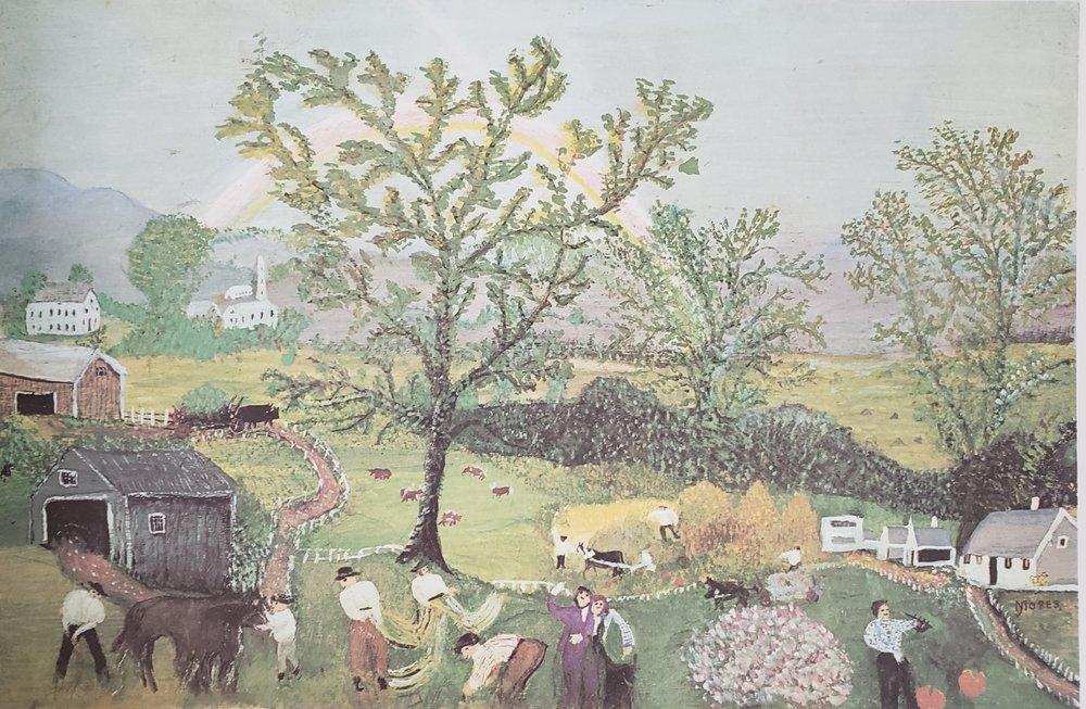 Rainbow, 1961 Grandma Moses' last painting