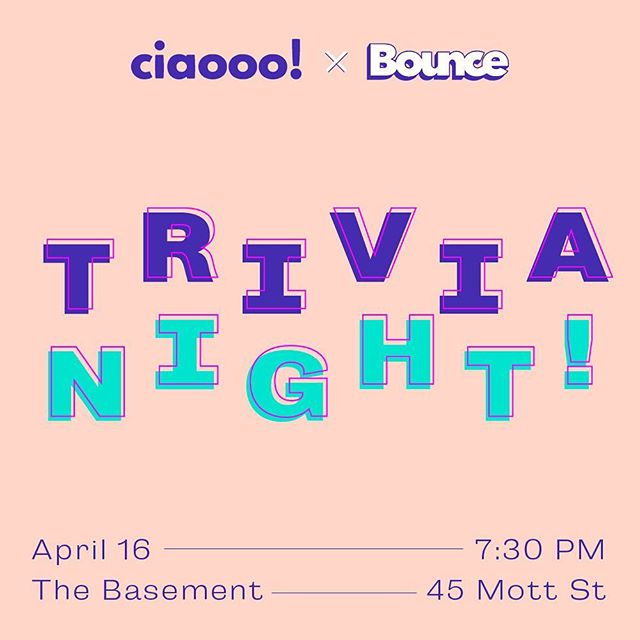 Get psyched for our biggest and baddest TRIVIA yet! This month we're partnering with our new friends at @trybounce dating app where we'll be having tons of swag and fun prizes! We're moving locations to The Basement (45 Mott street) in Chinatown on Tuesday, April 16th at 730pm.