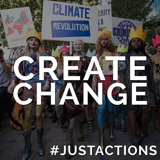 It's sad to see Project Just updates come to an end but it's reassuring to see the ripples of positive change that it has created among consumers. I'm optimistic about the change that will continue. This is just the beginning.💪 Check out the Project JUST post below and the rest of their toolkit and actions for making change @projectjust  #JUSTACTIONS #7: Create Change ✊🏾 Alright change makers, we've equipped you with an armory of resources to start ripples  around the world changing our current fashion system. Now set forth, tell your friends, tell your family, your loved ones, your dogs (and cats), your educators, your uber driver, and everyone else you see. Motivate others to throw a wrench in the system and amplify their voices. We are so privileged to be able to make choices about where we spend our money every day.  Use your power to support brands that are making clothing in a responsible way, organizations that offer alternatives to our linear economy, and NGO's that protect workers across the world. 🌍  Shop smarter. Be disruptive, be loud, and be JUST!  #GiveA💩 📷: @viviennewestwood