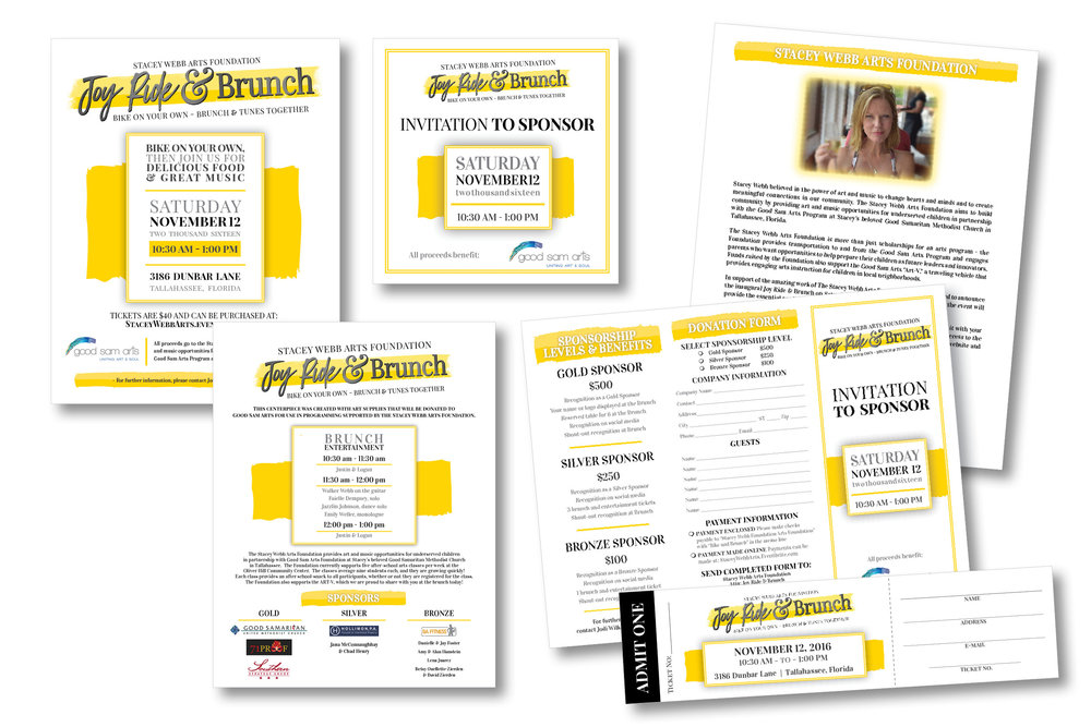 FUNDRAISER STATIONERY  Poster, Social Media Graphic, Program, Sponsor Brochure