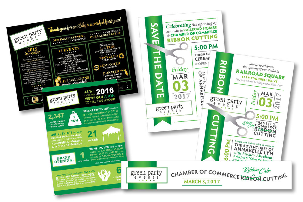 GREEN PARTY EVENTS  Wrap Up Graphics, Open House Save the Date, Invitation, and Photo Overlay