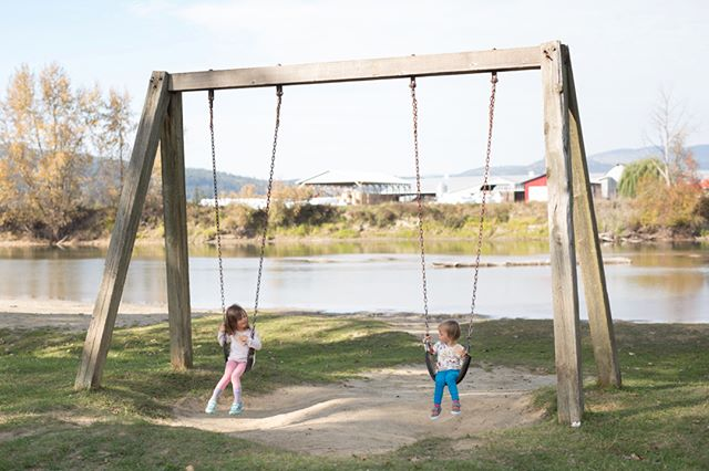 Passed through Enderby, BC and stopped at this little park (Tuey Park) along the river.  The crackers they're holding prevented any actual swinging but they still put up a fight when I said it was time to go. Apparently sitting 2 feet off the ground is exciting ;)