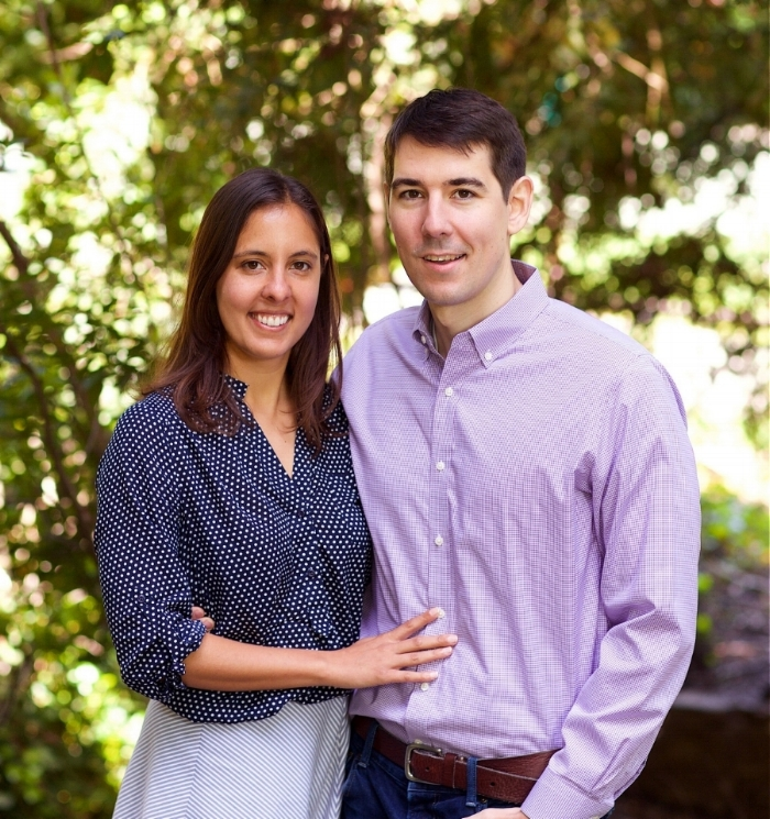 Josh Harder pictured above with his fianc é , Pamela Sud. They originally met while studying together at Stanford.