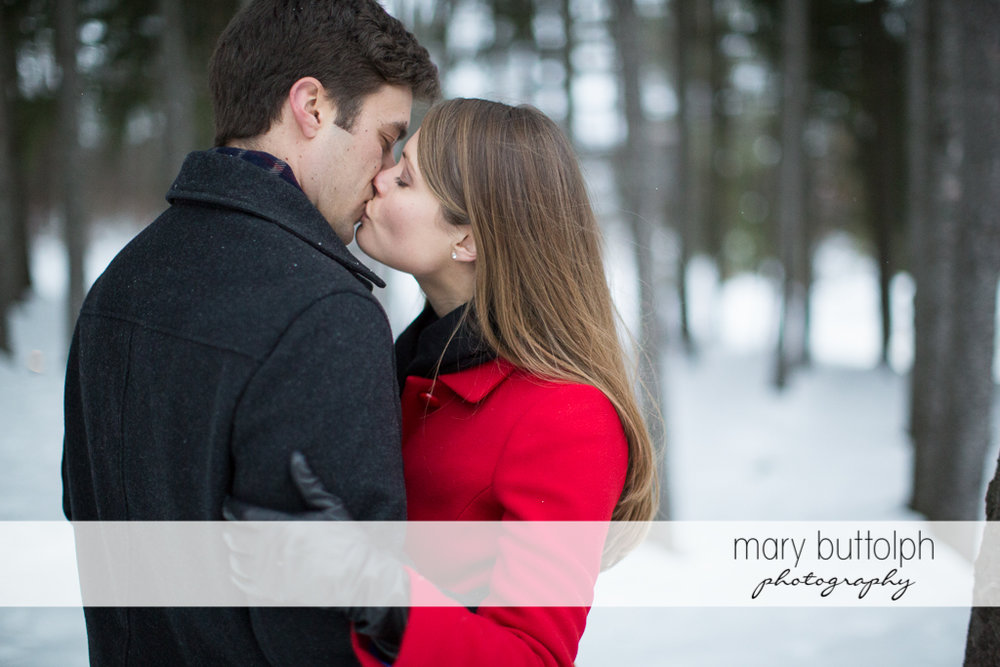 Couple kiss in the woods at Skaneateles Engagement