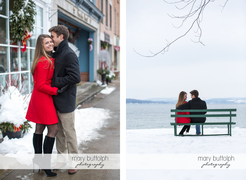 Couple show their affection in front of a building and sit by the lake at Skaneateles Engagement