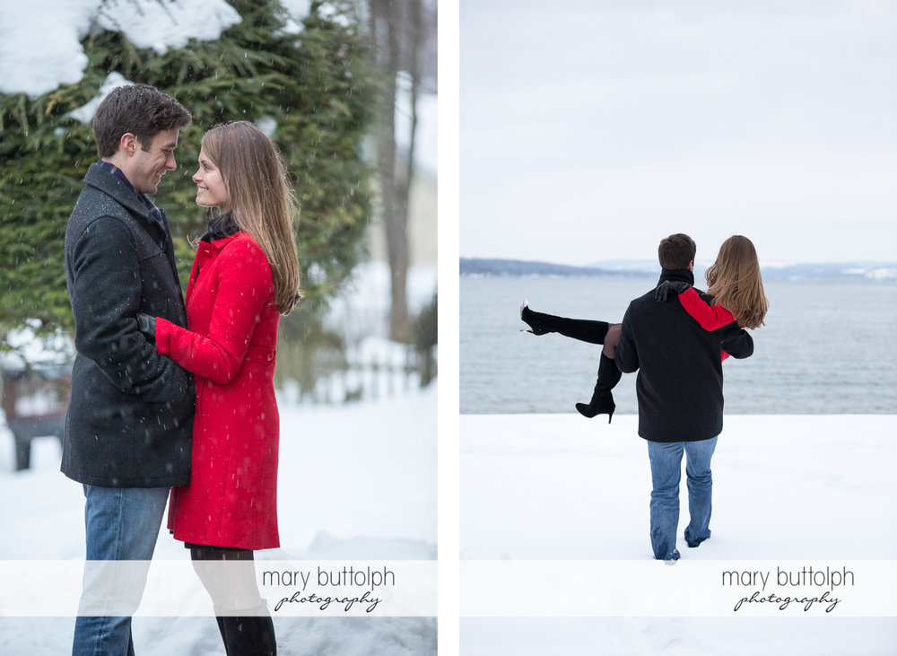 Couple enjoy the snowy weather and walk to the lake at Skaneateles Engagement
