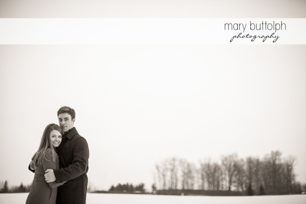Couple brave the cold weather for this great shot at Skaneateles Engagement