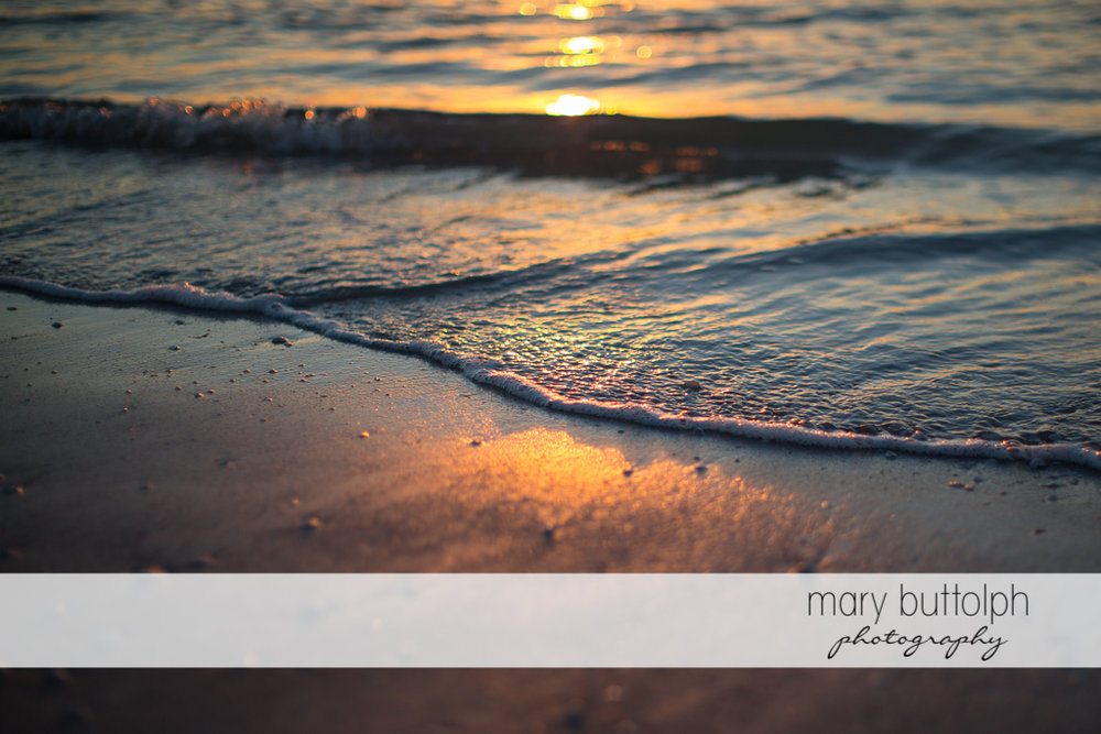 Waves take on a golden color as the sun sets on the beach at Sanibel Island Vacation