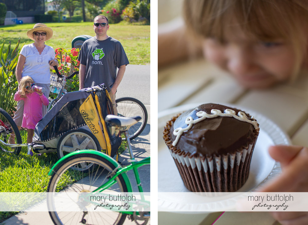 Couple and their daughter pose in the yard and a close up shot of a cupcake at Sanibel Island Vacation