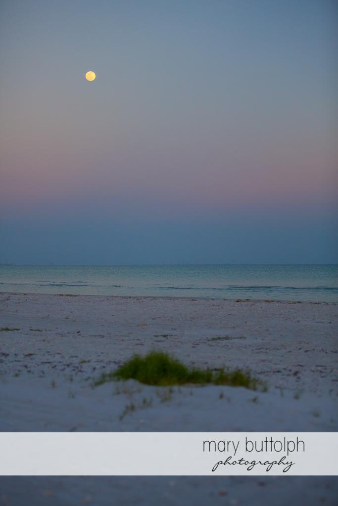 Moon shines on the beach at Sanibel Island Vacation
