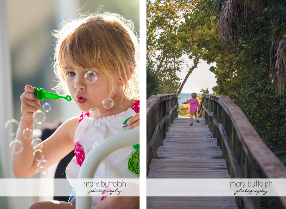 Girl plays with bubbles before crossing the wooden walkway leading to the beach at Sanibel Island Vacation