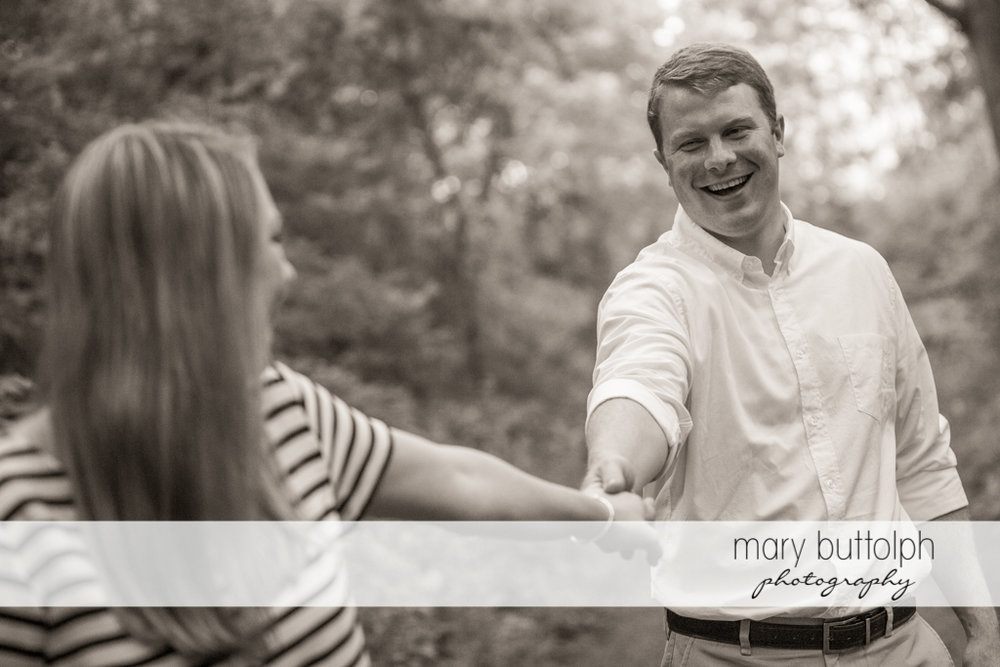 Couple spend quality time in the woods at Skaneateles Engagement