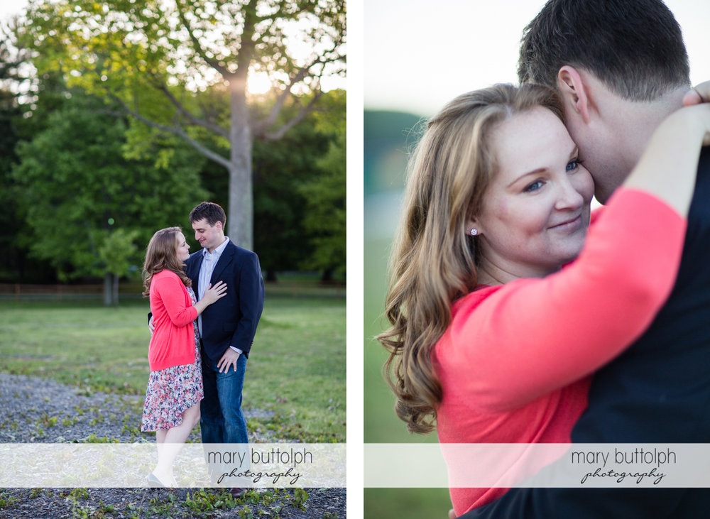 Couple get romantic on the lawn at Lourdes Camp Engagement